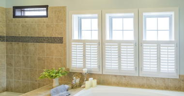 VINYL WINDOW 2040 TEMPERED WINDOW WITH PLANTATION SHUTTERS