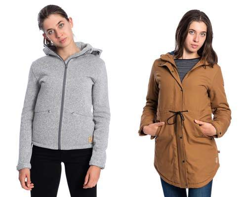 Woman wearing grey marl zip up Polartec fleece hoodie and woman wearing cotton canvas camel parka jacket from sustainable outdoors clothing brand Bleed clothing