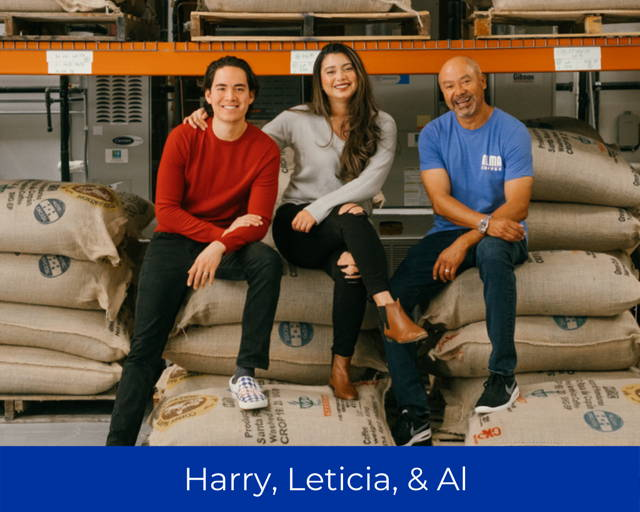 Owners of Alma Coffee. Harry Hutchins, Leticia Hutchins, Al Lopez