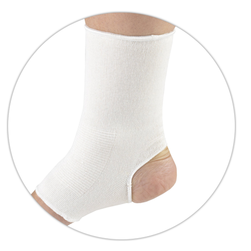 CLOSE-UP ON PULLOVER ELASTIC ANKLE SUPPORT
