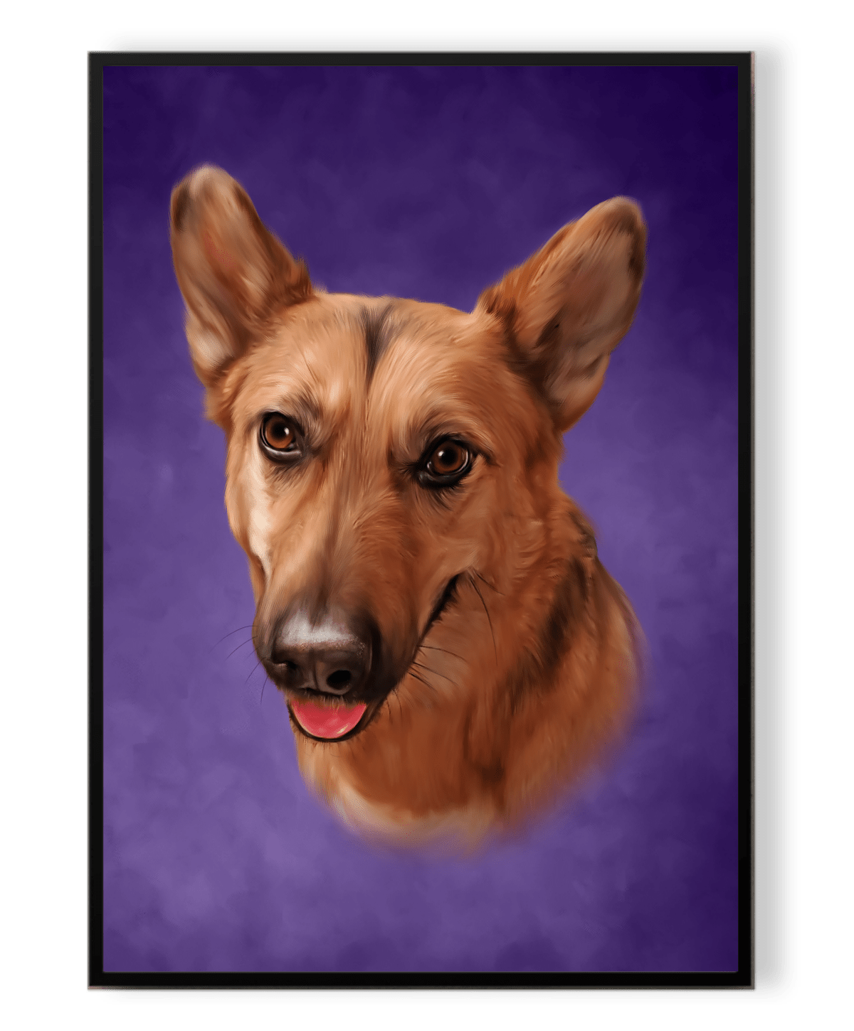 One dog on inside a frame with purple background