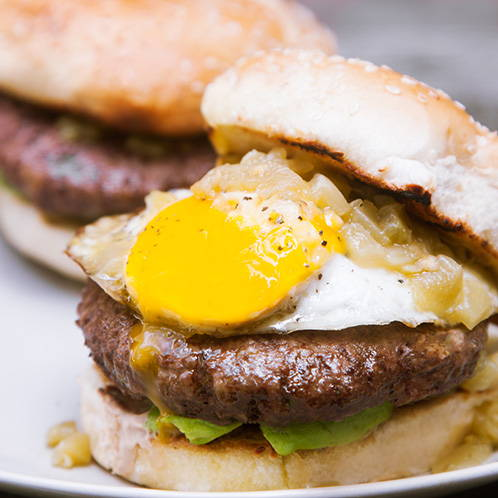 Green Chile and Fried Egg Burger