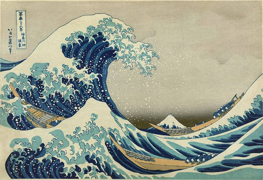 hokusai woodblock print of the wave