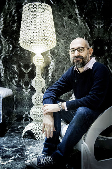 Ferruccio Laviani with his Kabuki Floor Lamp for Kartell