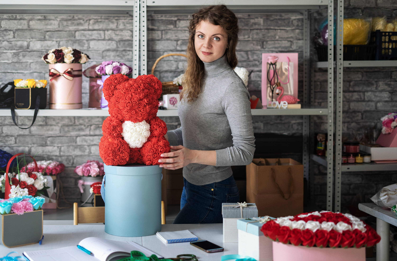 handmade rose bear, luxury rose bear