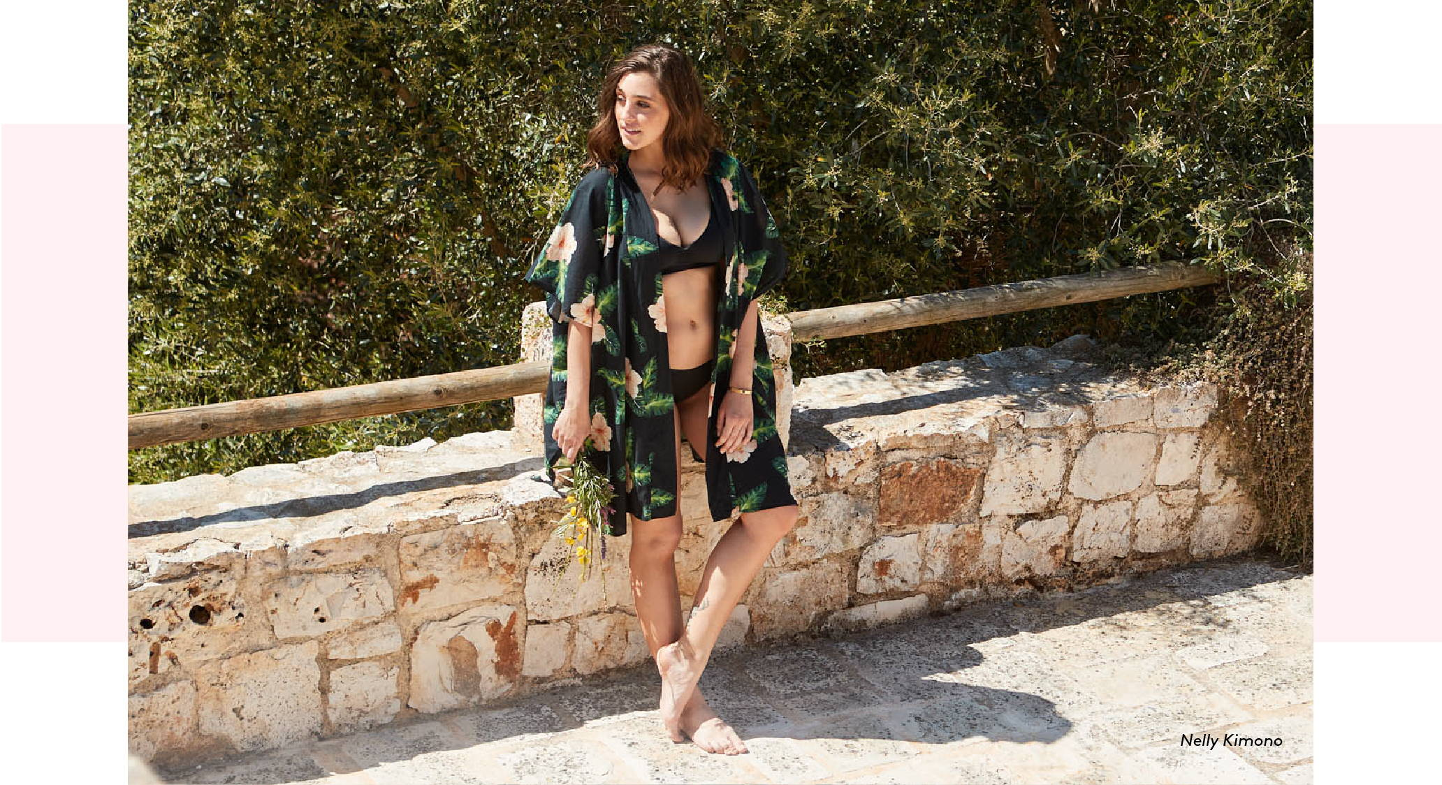 Get the Nelly Kimono in our BORA BORA print!