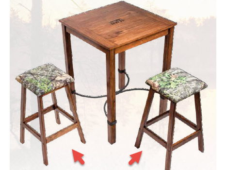 Set of Two Camo Cushion Stools