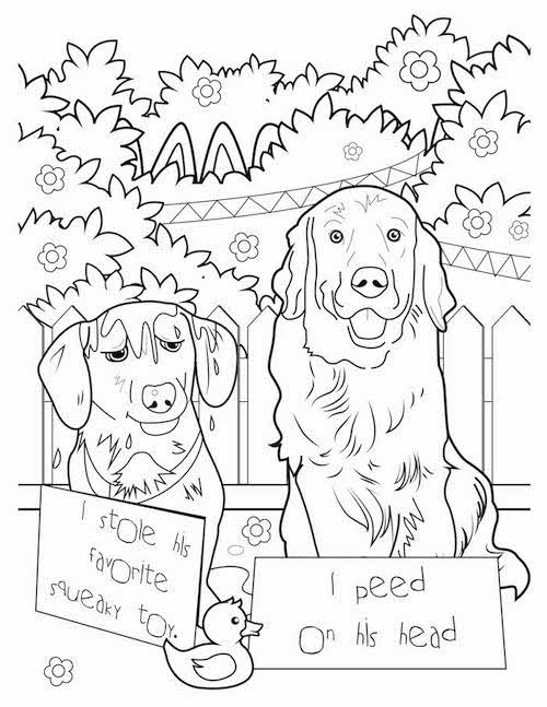 i peed on his head dog coloring page