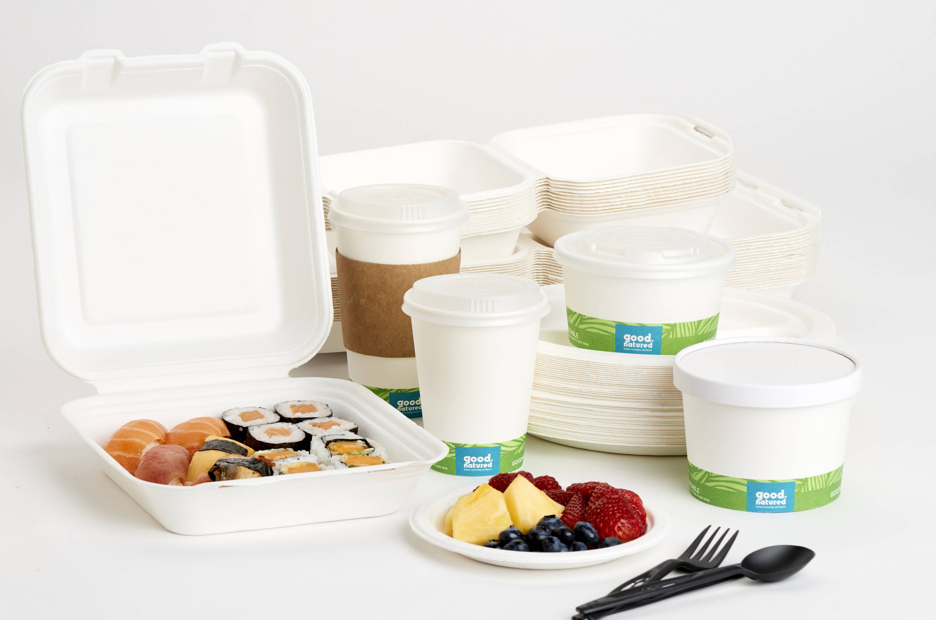 compostable take-out containers with cups, lids, and silverware