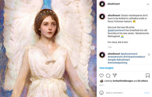 Instagram post featuring a painting of an angel with enormous wings.