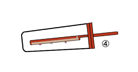Schema of an empty red tester on the side