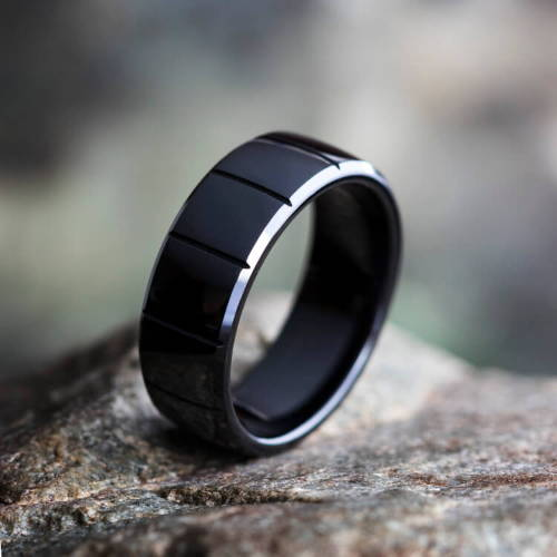 Black Tungsten Black Wedding Bands