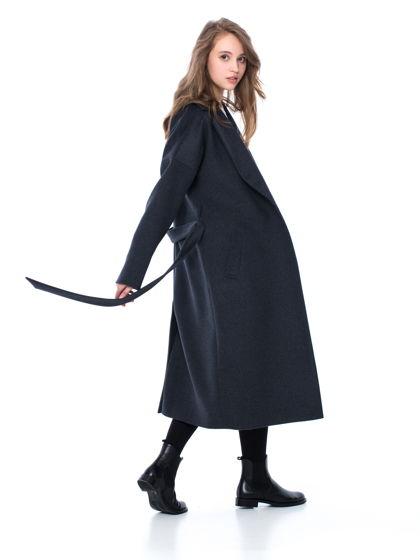 Пальто-халат темно-серого цвета