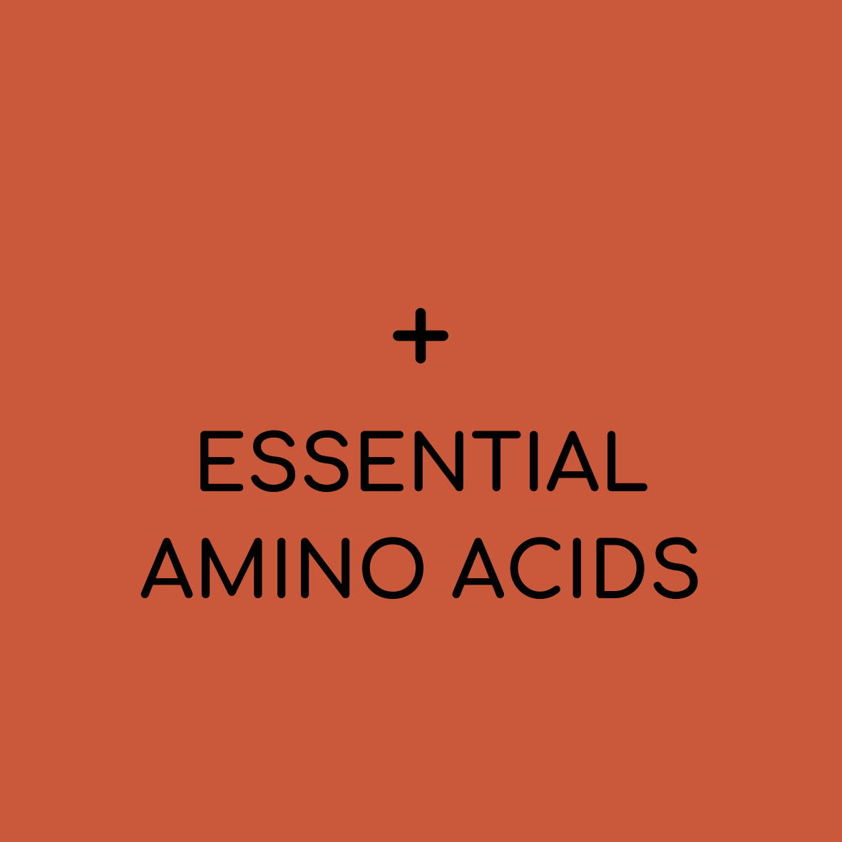 "Solid background with plus sign and ""essential amino acids"""
