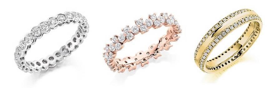 18K gold, platinum and palladium diamond eternity rings from Pobjoy Diamonds