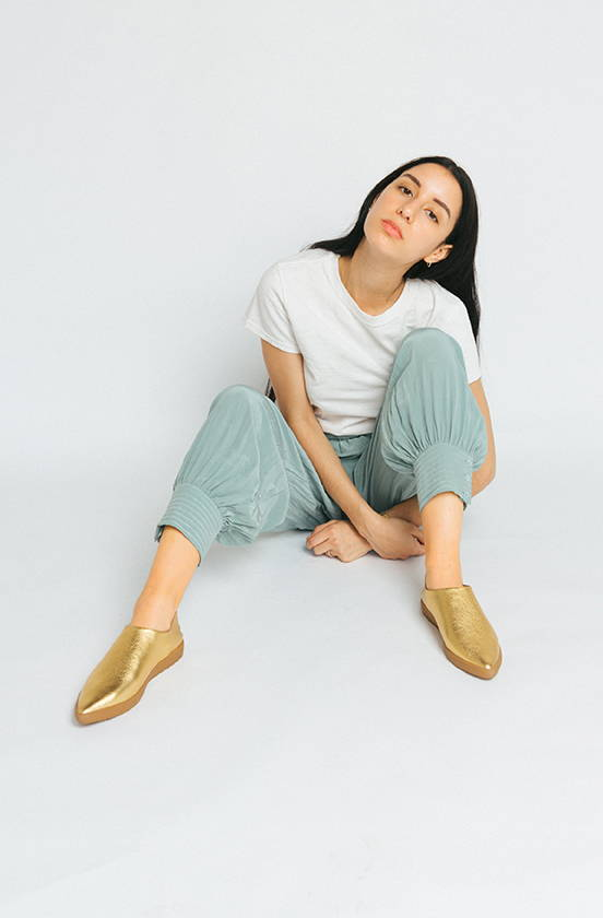 VQS shoes in cowhide on girl in sequin jumpsuit