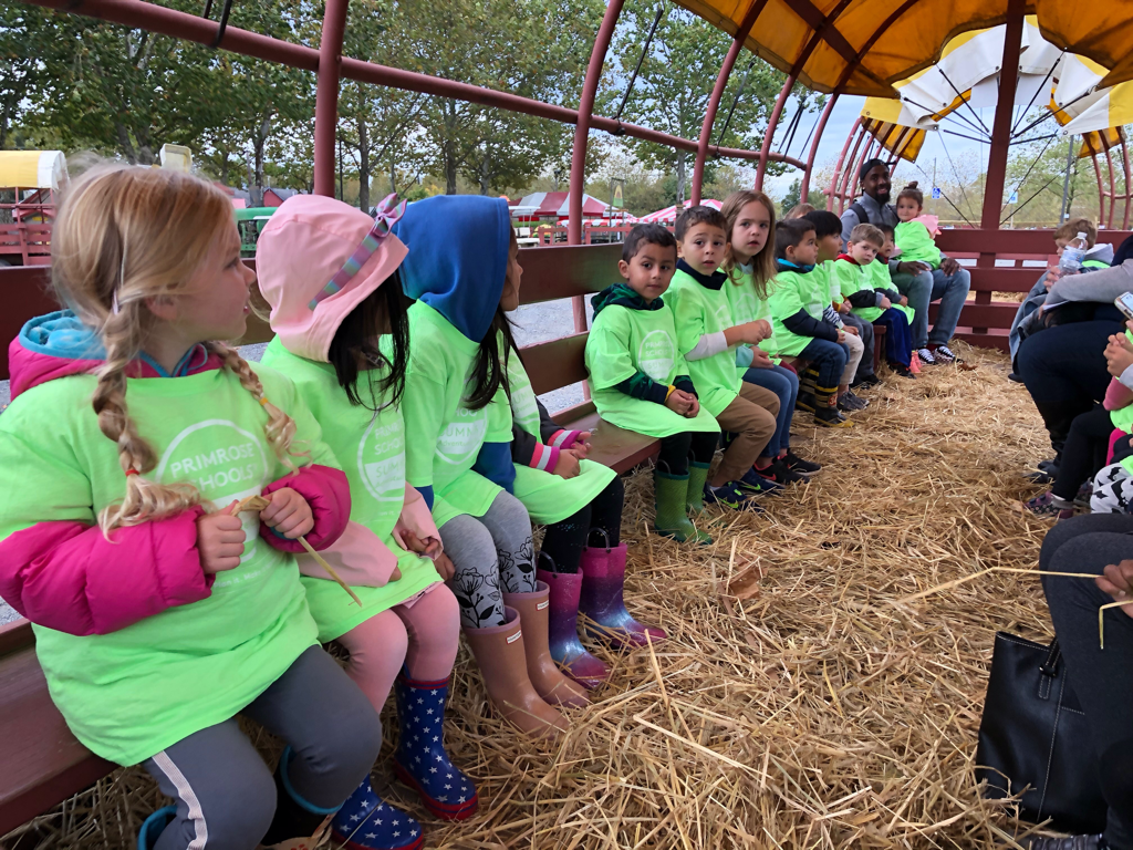 Pre-Kindergarten and Kindergarten on a hayride to the pumpkin patch.