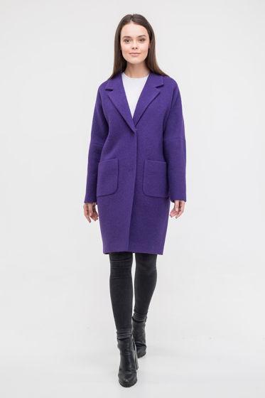 Пальто-кокон фиолетового цвета
