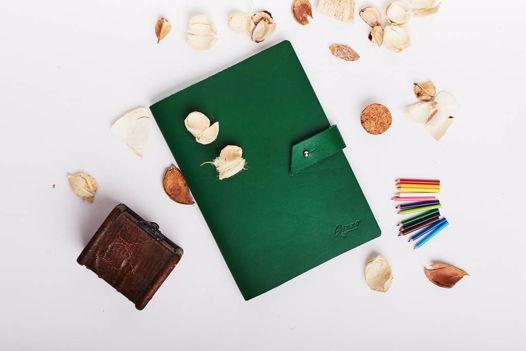 Кожаный блокнот со сменными блоками А5 -CONCEPT- цвет Green
