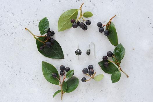 Серебряные серьги с моховым агатом