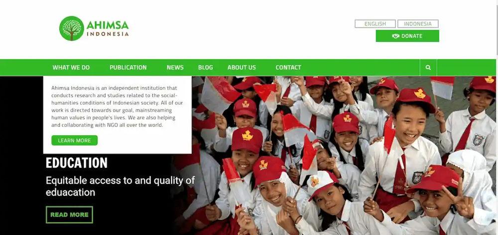 Philoshop Web Design for ahimsa.id Dekstop View