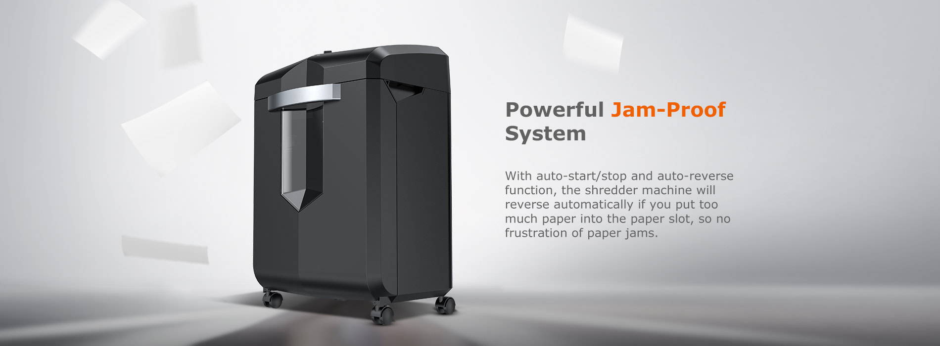 Quiet operation  The working noise level of this shredder is 62dB, which is ultra-low noise for your meeting room and office, no need to worry about disturbing others.