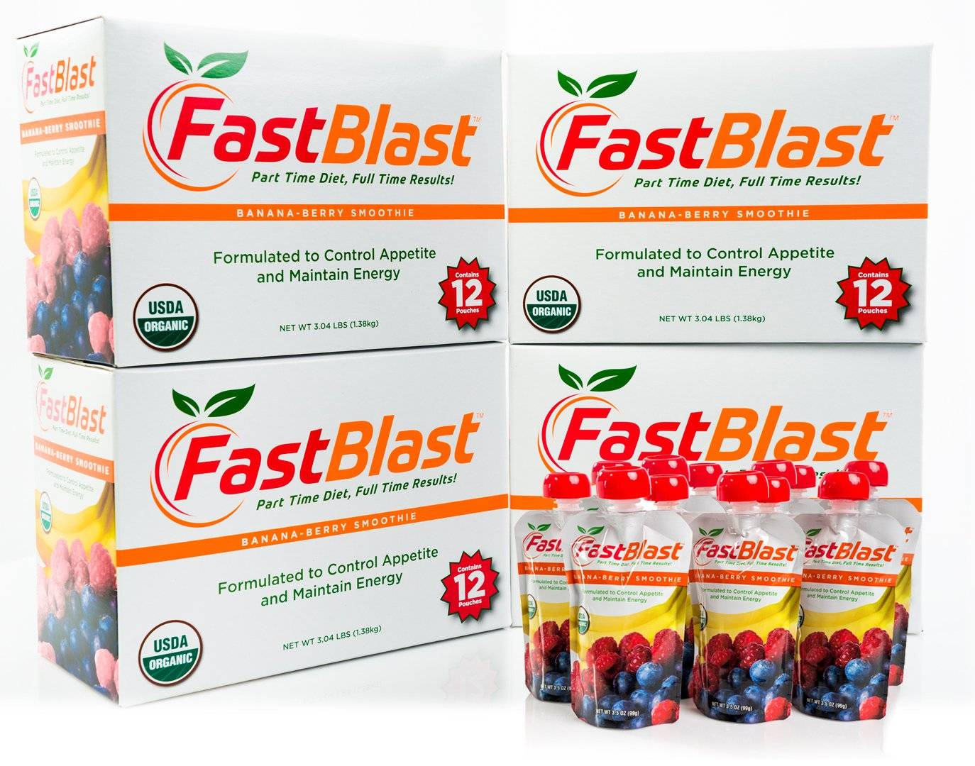 fastblast smoothies come in convienient pouches you can take with you anywhere