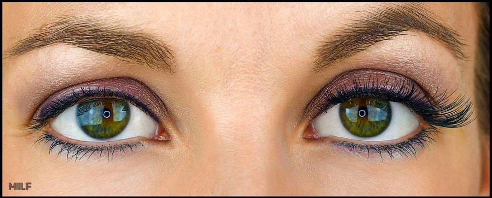 yeux avec et sans faux cils magnétique en volume russe