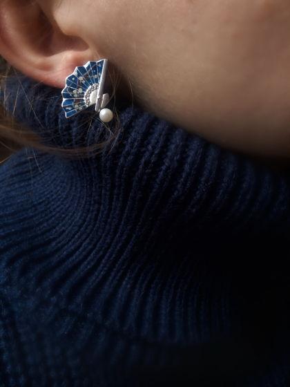 Серебряные серьги, с горячей эмалью и росписью «Веера»