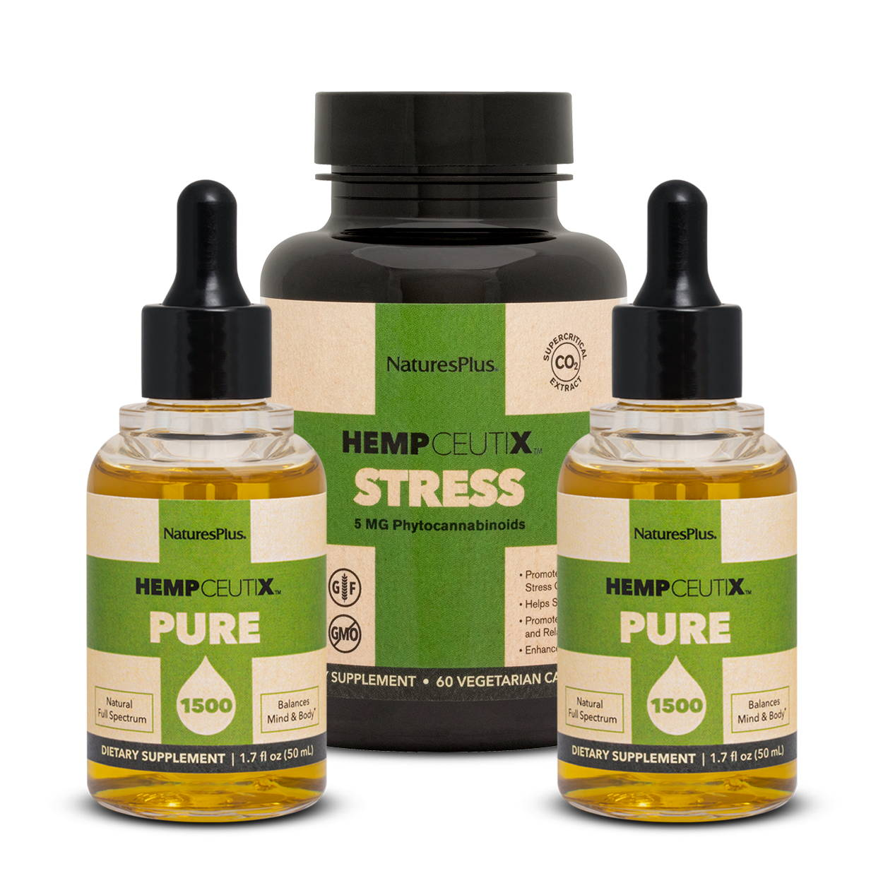 Stress stack image containing 2 bottles of Hempceutix Pure1500 and 1 bottle of Stress