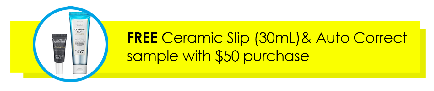 ad for free ceramic slip (30ml) & autocorrect sample with $50 purchase