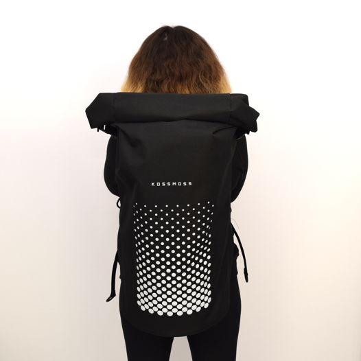 Черный светоотражающий ролл топ рюкзак