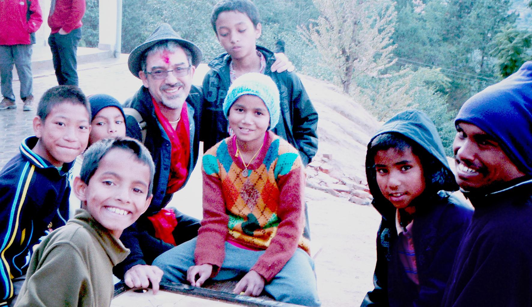 Joe Komodo with some of the kids at Sunrise Orphanage