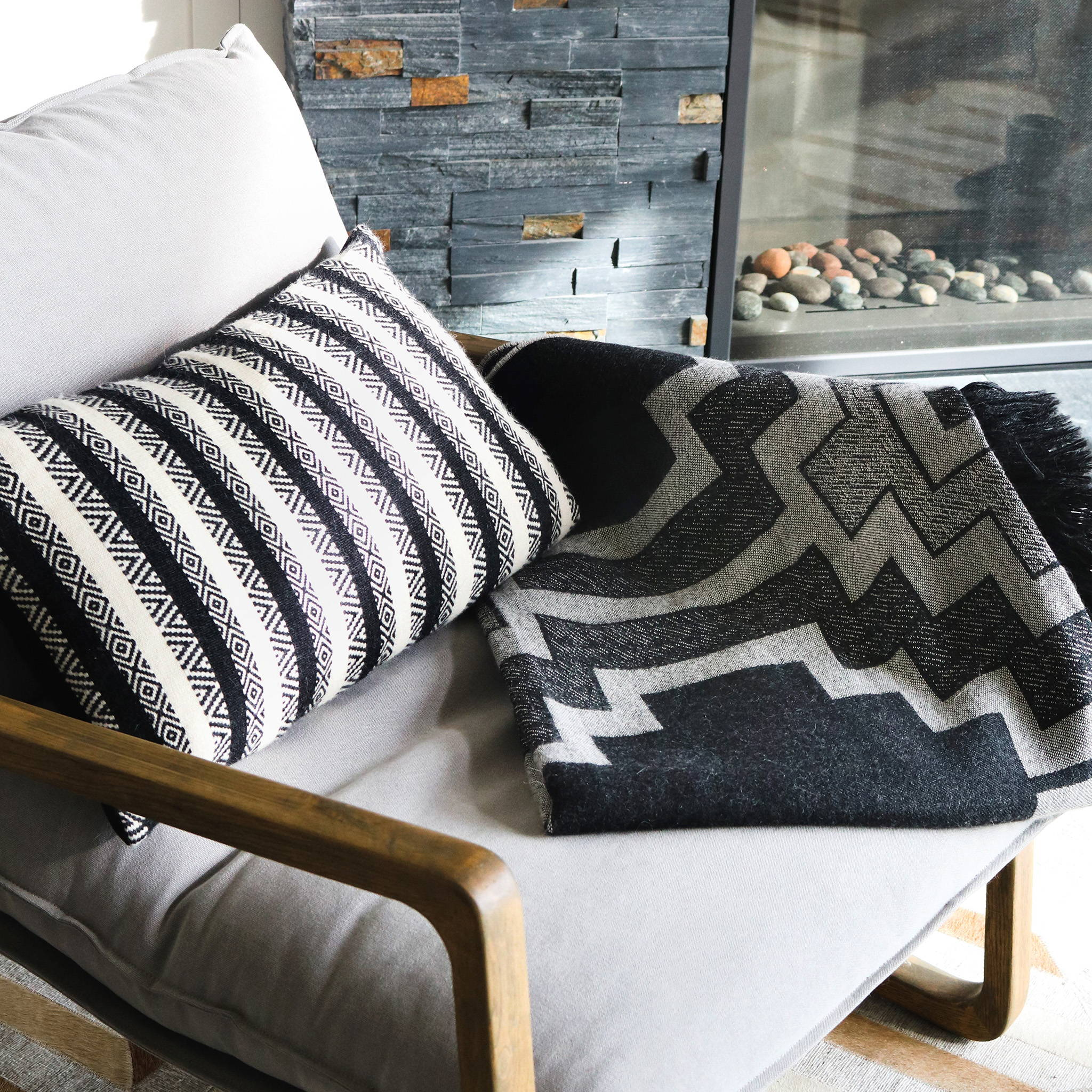 Hand-loomed Alpaca Diamond Stripe Throw Pillow & Alpaca Pampa Motif Throw Blanket - Stick & Ball