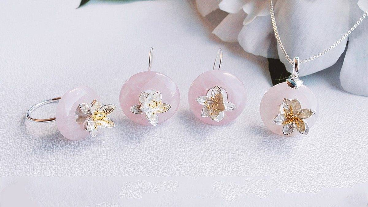 rose quartz jewelry set - lotus fun