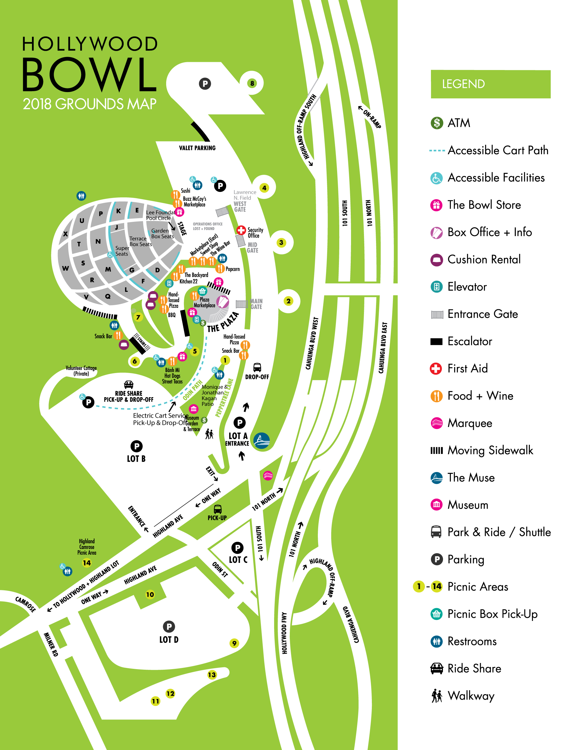 Hollywood Bowl Map Picknicking | Hollywood Bowl