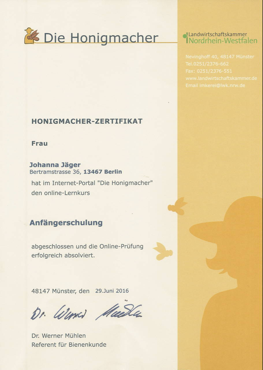Honigmacher-zertifikat