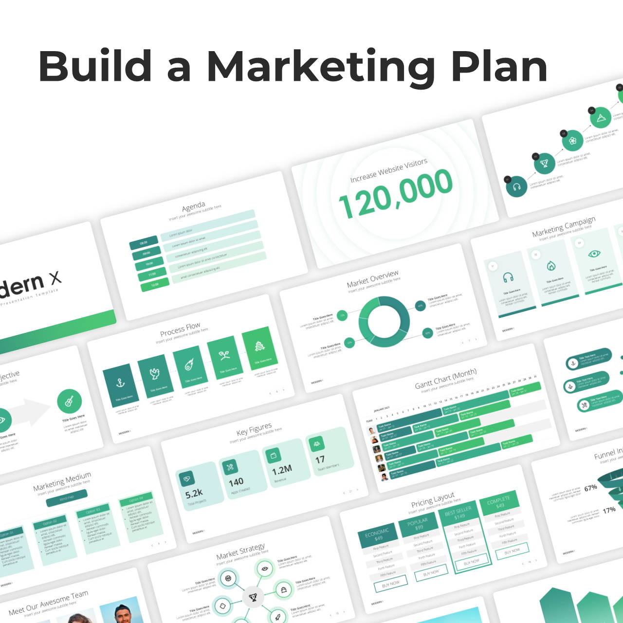 Modern X Marketing Plan Presentation Template