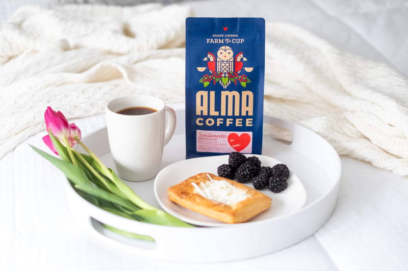 breakfast in bed with a cup of Soulmate coffee