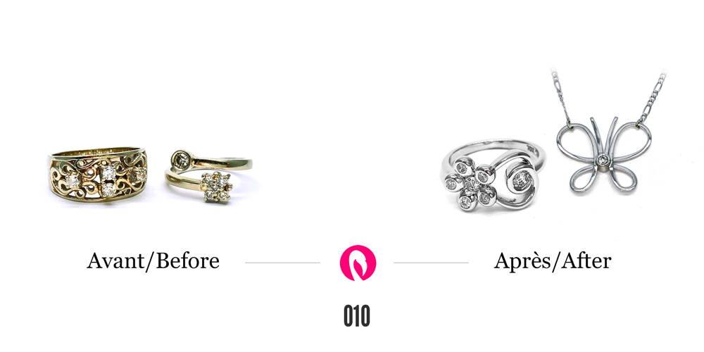 Deux bagues en or jaune aux multiples formes avec diamants transformées en une bague en or blanc avec tiges de type floral avec diamants aux pétales. La deuxième transformation est un pendentif en forme de papillon avec diamant au centre.