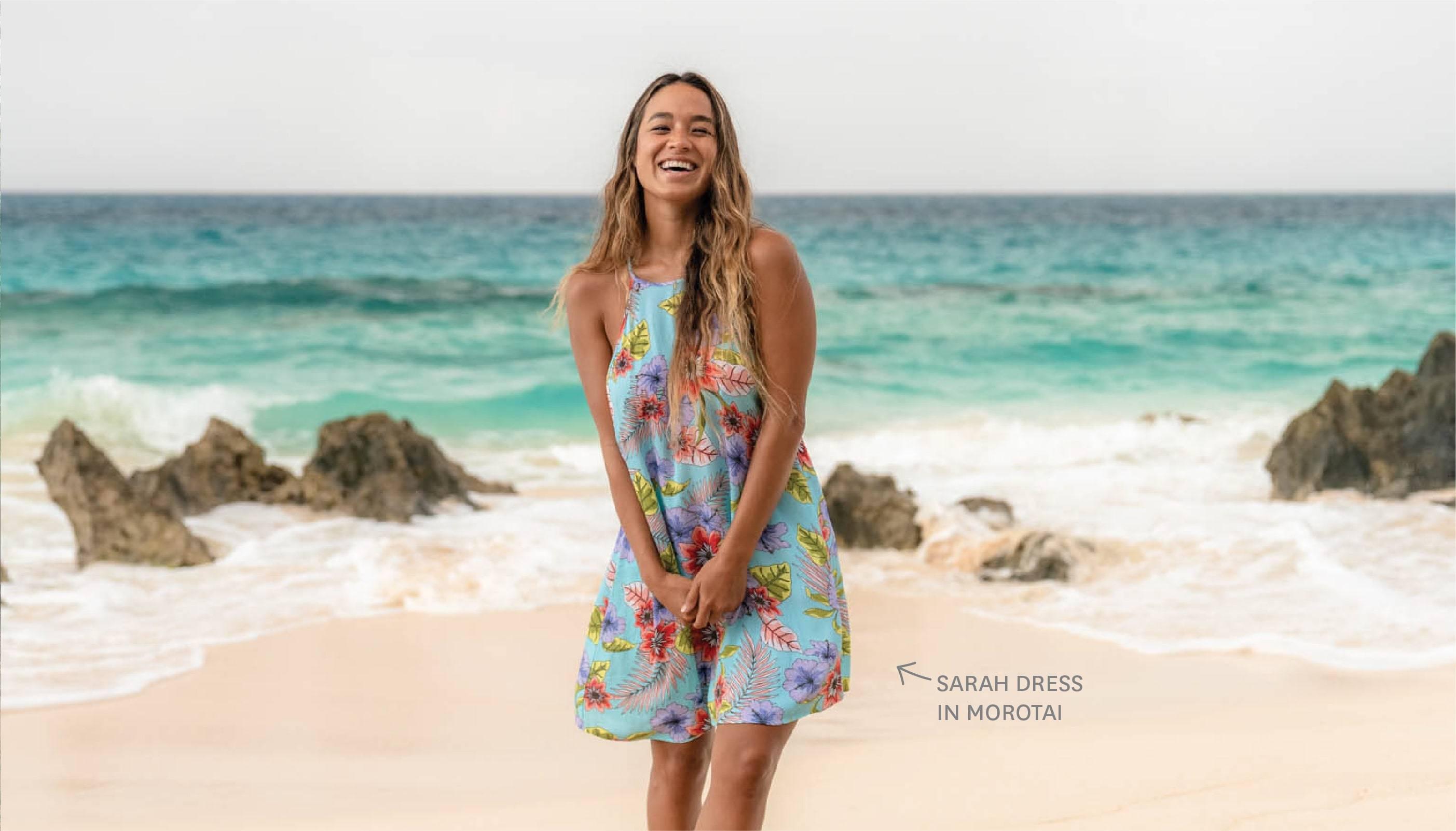 Eidon's Sarah dress in the Morotai print.