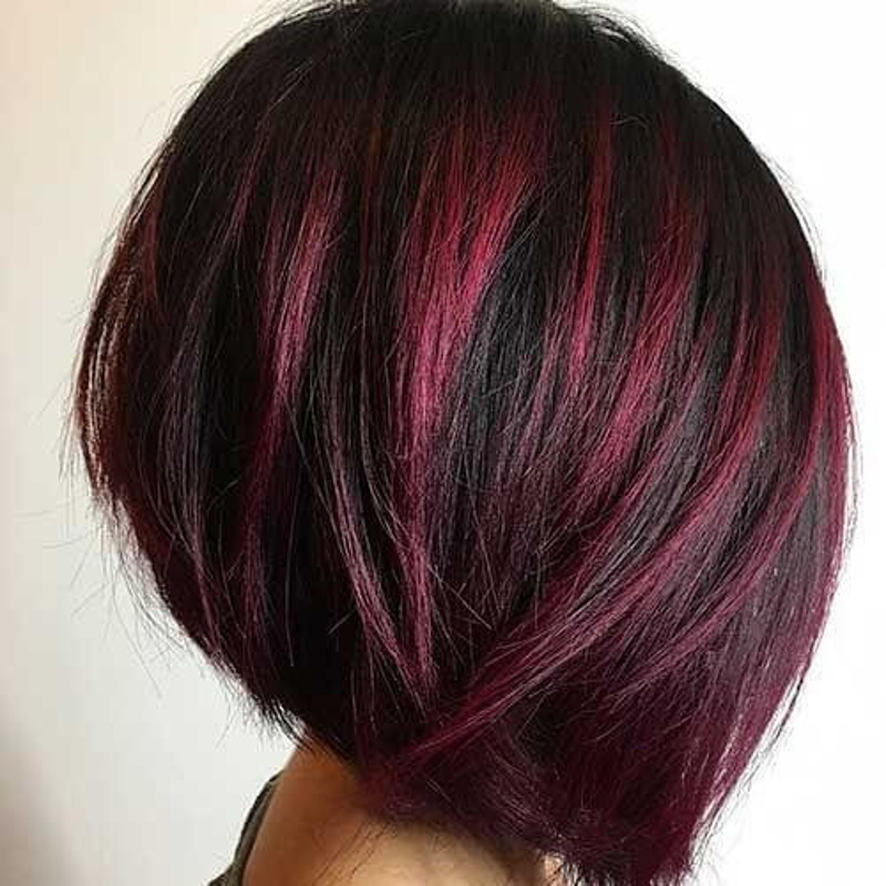 red feathered asymmetrical bob
