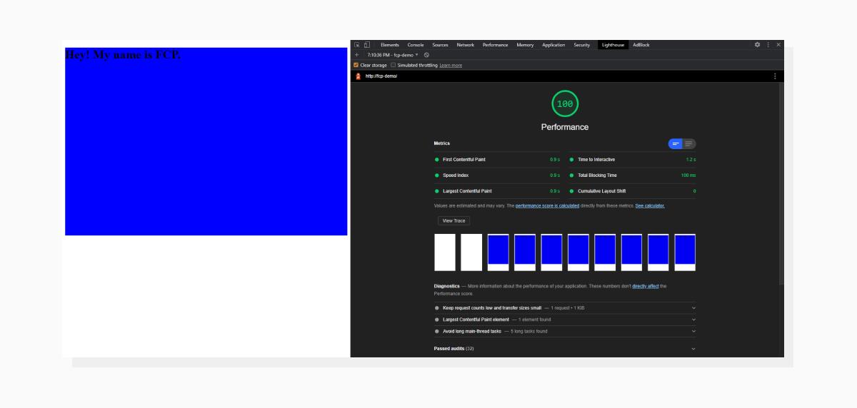 Lighthouse screenshot demonstrating successful First Contentful Paint event.
