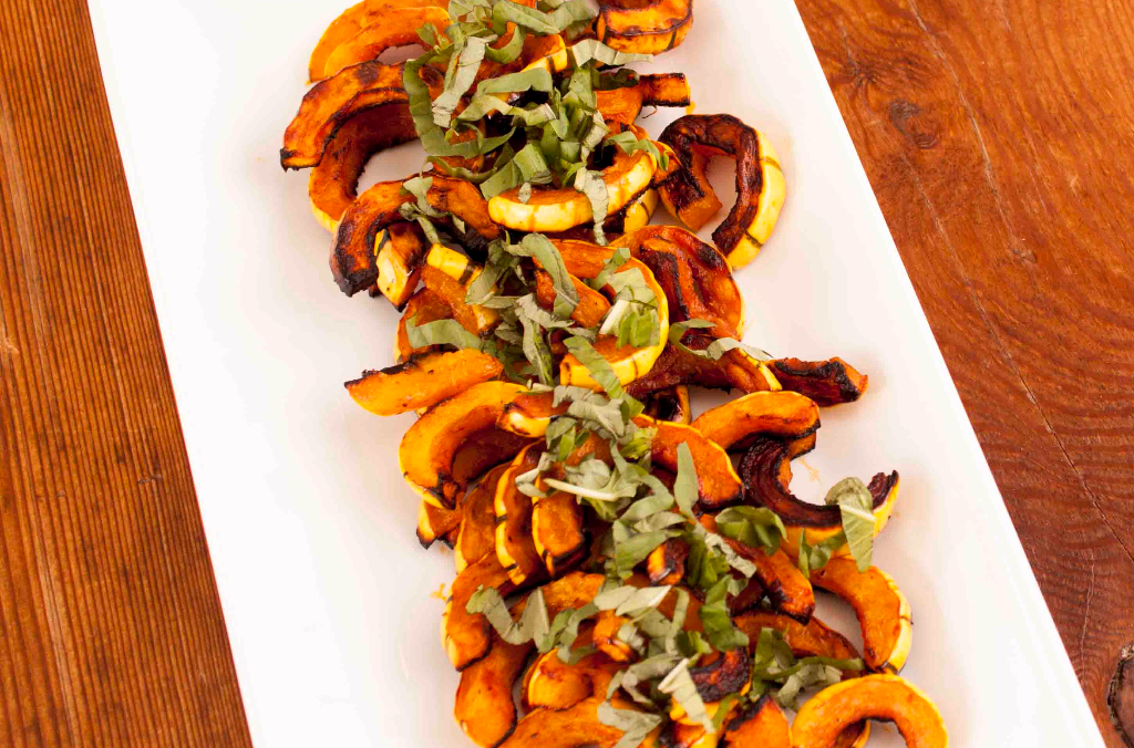 roasted delicata squash with kpop spicy hot sauce