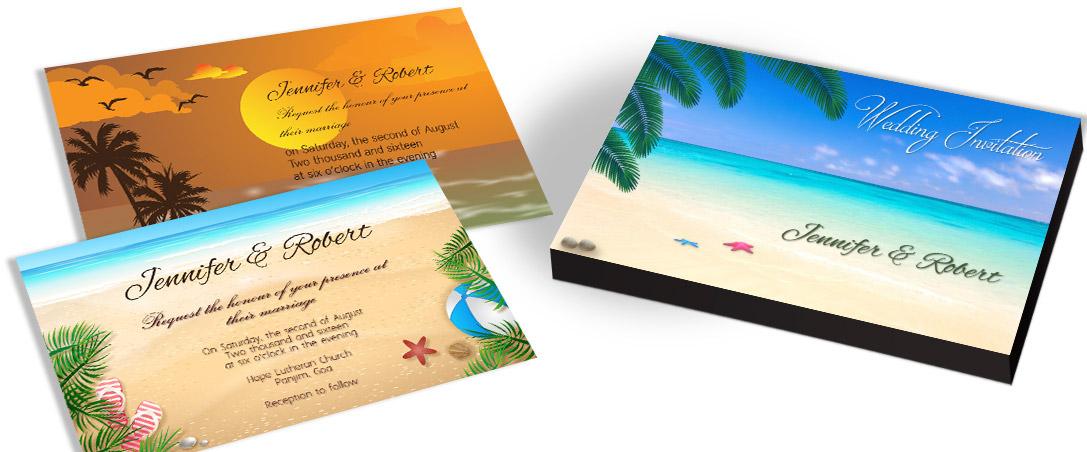 Beach Theme Marriage Invitation