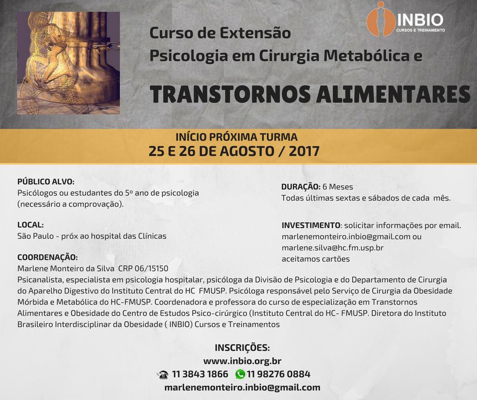 CURSO DE EXTENSÃO PSICOLÓGICA EM CIRURGIA METABÓLICA E TRANSTORNOS ALIMENTARES
