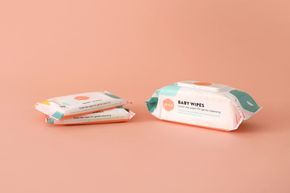 Packaging design for Parasol Co, a baby essentials subscription company