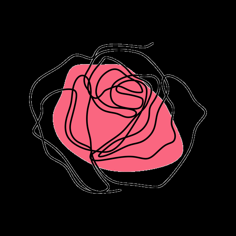 single line pink rose