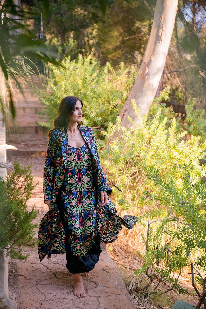 Yasmin Mills strolls around Ibiza in YOLKE Anais Black Silk Juno Slip and matching dressing gown