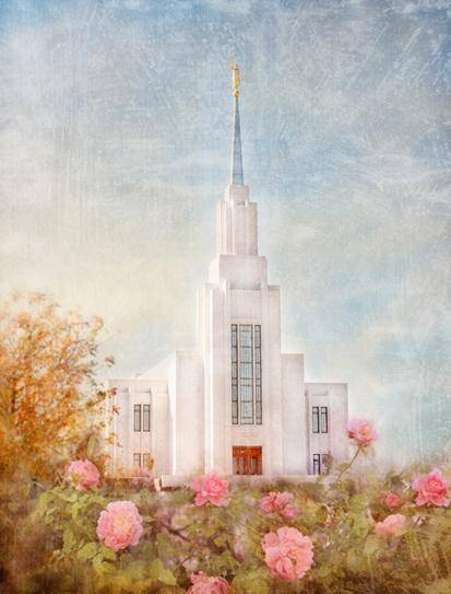Twin Falls Temple with pink roses and fall plants in the foreground.